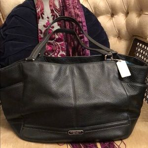 Coach Black Leather Tote Purse with Blue lining